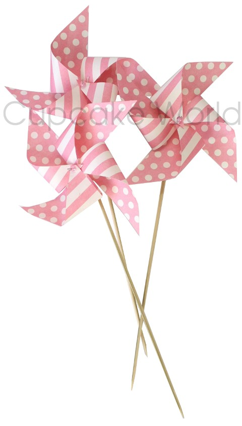 ROBERT GORDON PINK PAPER WINDMILL PARTY FAVOUR DECORATION 6PCS